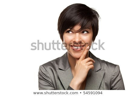 csinos · mosolyog · több · nemzetiségű · fiatal · felnőtt · nő · szemek - stock fotó © feverpitch