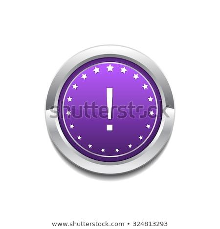 Uyarmak imzalamak mor düğme ikon Stok fotoğraf © rizwanali3d