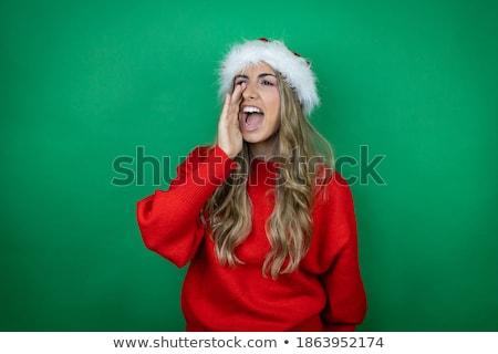 seksi · mavi · Noel · şapka · noel · baba - stok fotoğraf © zurijeta