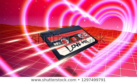 Vektor keverék szalag kazetta szív alak kék Stock fotó © adrian_n