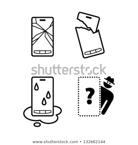 mobile phone icon with smashed screen stock photo © adrian_n