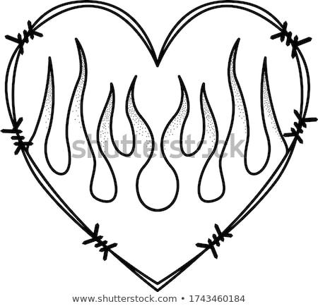 Foto stock: Chamejante · coração · vermelho · fogo · preto · amor