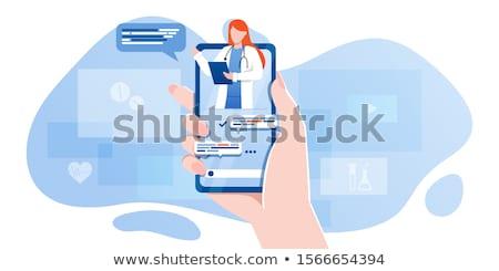 online · konzultáció · orvosi · szalag · egészségügy · vektor - stock fotó © vectorikart