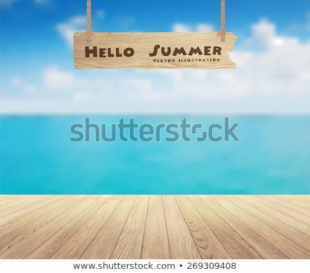 vector beach concept with blue plank stock photo © dashadima