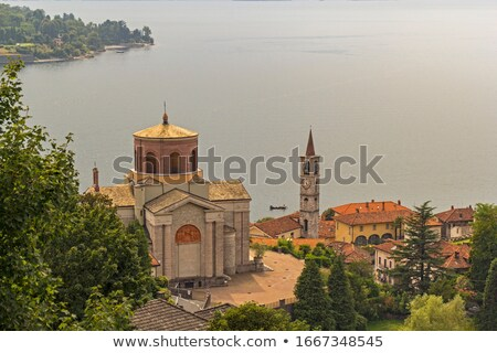 Laveno Chiesa di Sant Ambrogio on lake Lago Maggiore Stock photo © LianeM