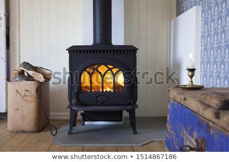 Tűzhely ajtó közelkép kilátás fém konyha Stock fotó © boggy