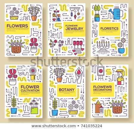 Thin line woman decorator standing brochure cards set.  Working in beautiful flowers store template  Stock photo © Linetale