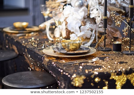 Stock photo: Christmas table setting with gift box and xmas tree
