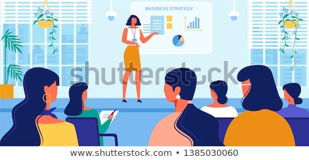 Menina negócio alto-falante apresentação ilustração terno Foto stock © lenm