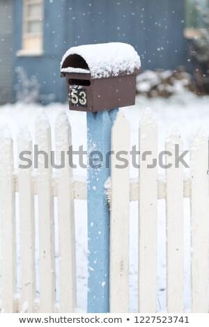 mailbox · hek · grijs · sparren · plank · interessant - stockfoto © lovleah