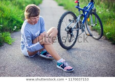 Short hair women Sportswear_road bike Stock photo © toyotoyo