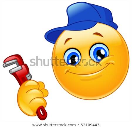 Fontanero emoticon sonrisa cara hombre Foto stock © yayayoyo