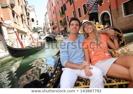 Sevmek romantik çift Venedik İtalya iskele Stok fotoğraf © artfotodima