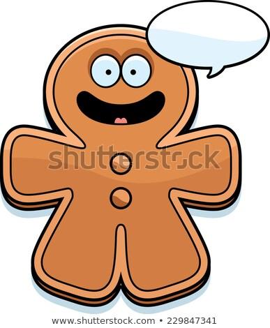 Talking Cartoon Gingerbread Man Stock photo © cthoman