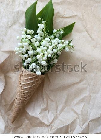 Stockfoto: Boeket · bloemen · wafel · kegel · Blauw · top