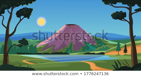 Erupting volcano and camping scene Stock photo © bluering