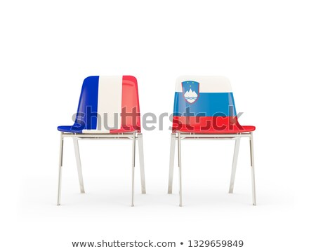 Two chairs with flags of France and slovenia Stock photo © MikhailMishchenko