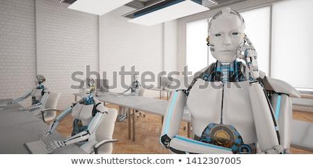 Insansı robot açmak uzay ofis 3d illustration Stok fotoğraf © limbi007
