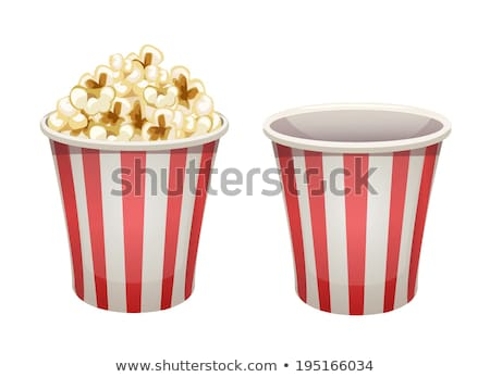 Popcorn in paper bucket. Empty and full cups Stock photo © LoopAll