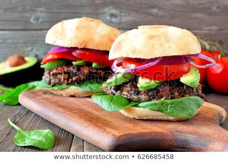 Egészséges vegetáriánus hamburger közelkép fotó ízletes Stock fotó © Anna_Om