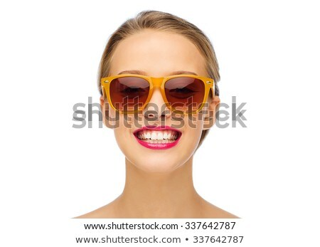 Cosmetics, makeup and trends. Bright lip gloss and lipstick on lips. Closeup of beautiful female mou Stock photo © serdechny