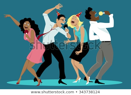 girl singing on stage with group of people vector stock photo © robuart