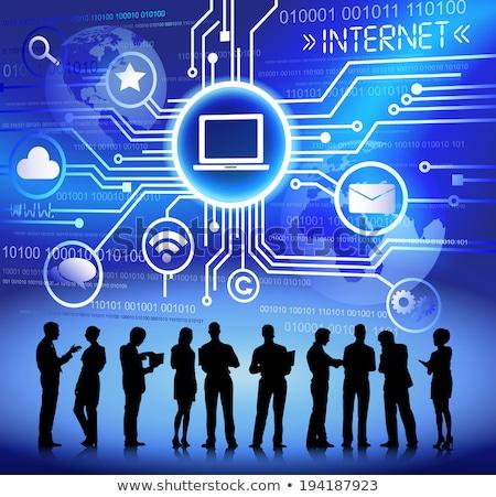 üzletemberek megbeszélés laptop chat buborékok digitális kompozit Stock fotó © wavebreak_media