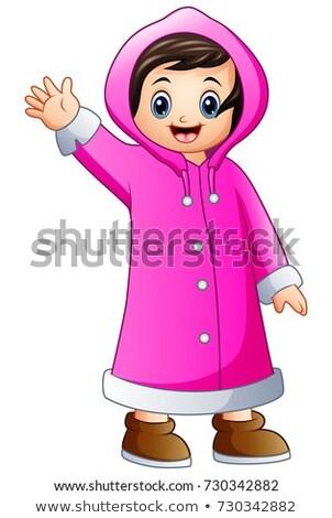 Cartoon fille hiver vêtements illustration Photo stock © bennerdesign