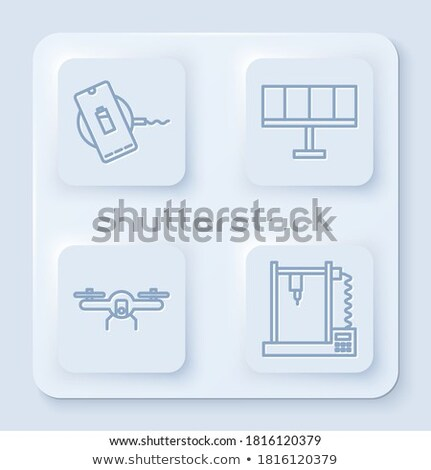 action of sun on battery icon vector outline illustration Stock photo © pikepicture