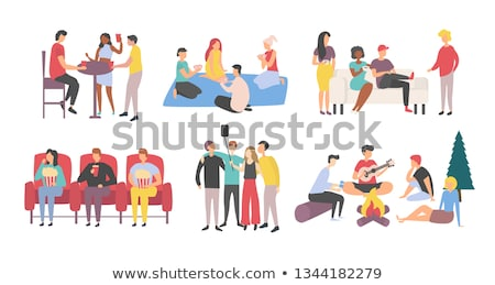 Friends Playing Games and Drinking Coffee, Meeting Stock photo © robuart