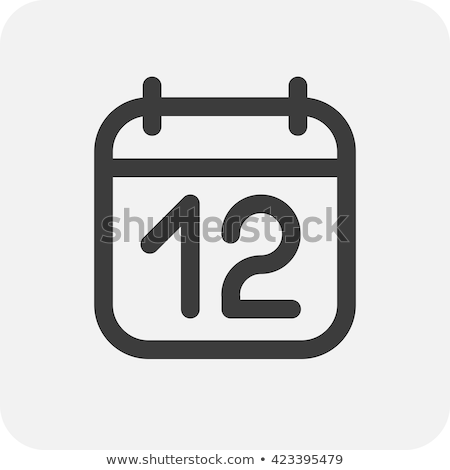 Simple black calendar icon with 12 february date isolated on white Stock photo © evgeny89