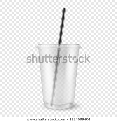 Plastic cup with lid and straw Stock photo © magraphics