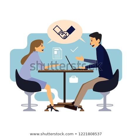 дело разговор два бизнесменов изометрический икона Сток-фото © pikepicture