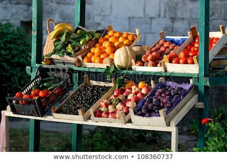 Agricultores mercado colorido nectarina frutas preço Foto stock © milsiart