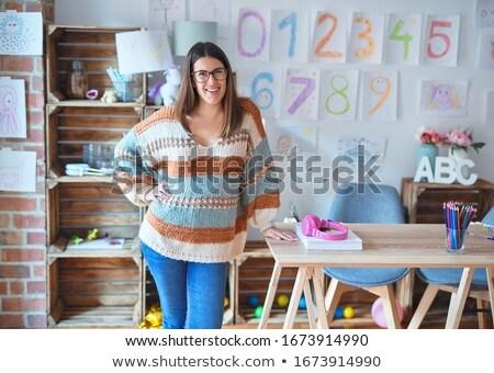 jonge · leraar · onderwijs · wiskunde · schoolbord · klas - stockfoto © tiero