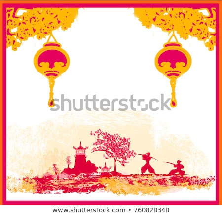 old paper with japanese temple on abstract asian landscape stock photo © jackybrown