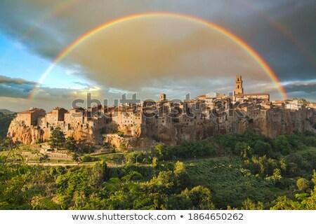 ortaçağ · köy · Toskana · İtalya · ev · duvar - stok fotoğraf © joyr