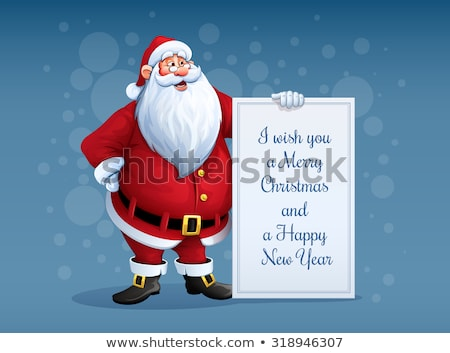 Merry Santa Claus standing with christmas greetings banner in arm Stock photo © LoopAll