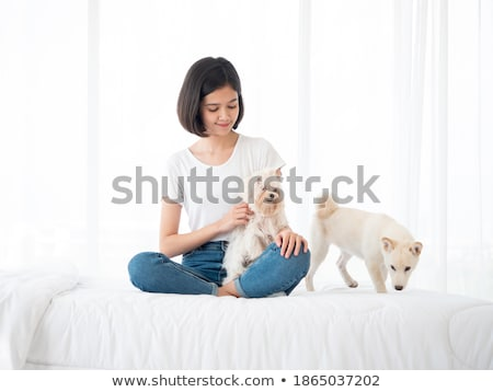 Young Girl with Her Maltese Stock photo © feverpitch