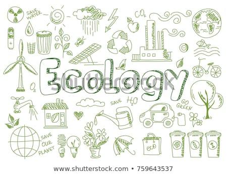 Garabato vector ecología casa mundo mariposa Foto stock © netkov1