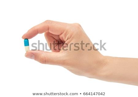 Foto stock: Pílulas · mão · branco · masculino · dor · isolado