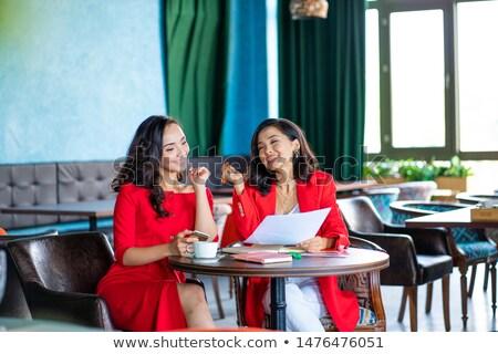 Zwei Geschäftsfrauen Gespräch Frau Design arbeiten Stock foto © IS2