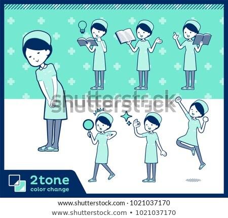 2tone type Nurse wear women_set 05 Stock photo © toyotoyo