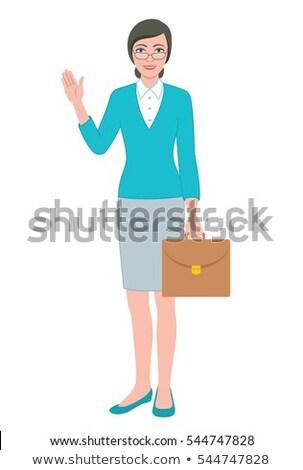 деловая · женщина · счастливым · Cartoon · улыбаясь · работу - Сток-фото © cthoman