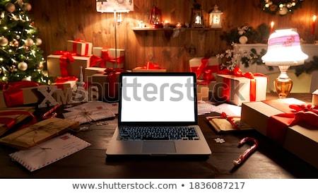 alegre · natal · papai · noel · chaminé · noite · vetor - foto stock © bluering