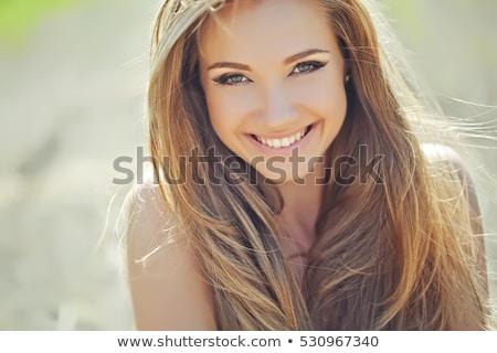 Mosolygó nő szépségszalon kezelés szemöldök mosoly boldog Stock fotó © Kzenon