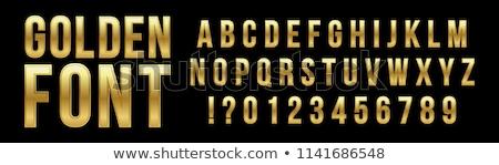 Fényes fém betűtípus arany levelek számok Stock fotó © Evgeny89