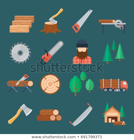 axe chopping wood vector flat icon Stock photo © blaskorizov