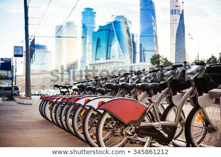 Moderno cidade bicicleta estacionamento europeu rua Foto stock © vapi