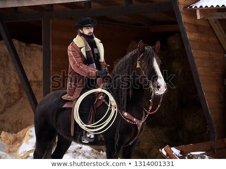 Cowboy miasta wiele ludzi ilustracja domu Zdjęcia stock © colematt